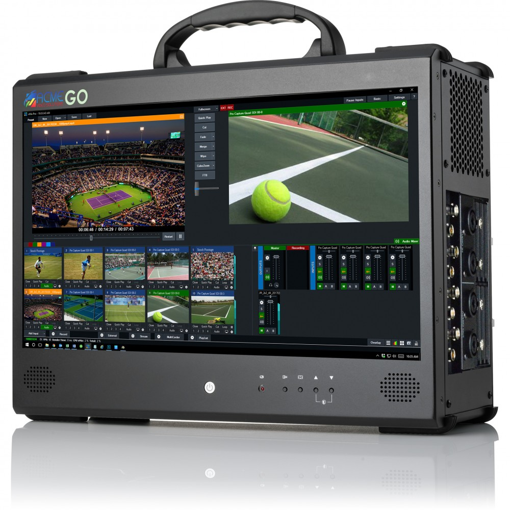 ACME GO 4/4K - Portable Production Video Switcher Hardware with integrated display.